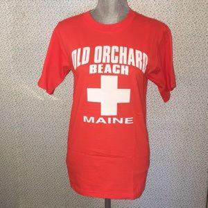 Old Orchard Beach MAINE orange Graphic T-Shirt S